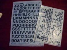 Letraset rub down letters
