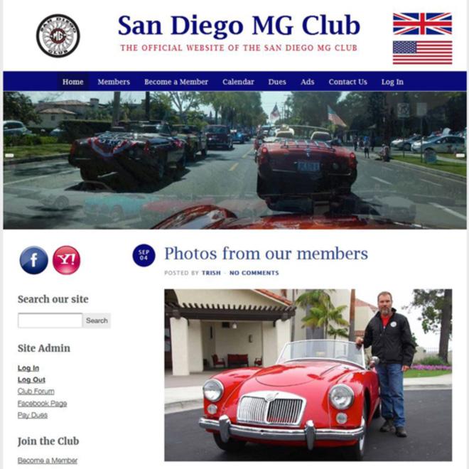 San Diego MG Club Website